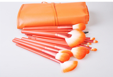 24Pcs Bright orange Synthetic Hair Makeup Brush Set, Premium Cosmetic Face & Eye Styling Tools Makeup Brush + Bag maquiagem(China)