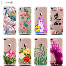 Kerzzil Slim Printed Flowers Cactus Flamingo Unicorn Cartoon Case For iPhone 6 6s 7 Plus Clear Tpu Back Cover For iPhone 7 6 6S