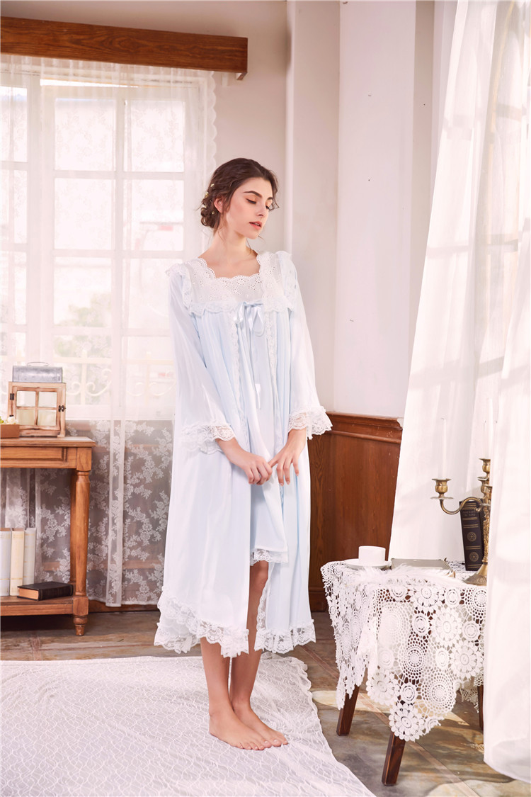 2018 New 2 Piece Robe Set Lace Chemise Full Slips with Victorian Robe Retro Palace Robe Gown Set GT046 14