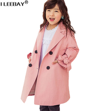 New Fashion Long Style Girl Windbreaker for Autumn and Winter Girls Korean Style Coat Children Fall Jacket Junior Girls Hooded(China)
