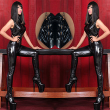 Buy 2015 New Arrival Black Japanned Leather Bondage Bodysuit Side Lace-up Wetlook Punk Gothic Latex Catsuit Pole Dance Clubwear