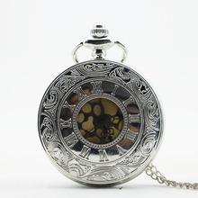PB055 New Arrival Vintage Fashion Roman Number Quartz Steampunk Pocket Watch With Chain Men's Women Xmas Gift