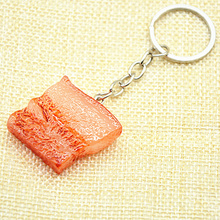 Creative Simulation Of Foods Meat Key Keychain Jewelry Head Cover Key Chain Resin Anime holder Cartoon For Men Women Gift