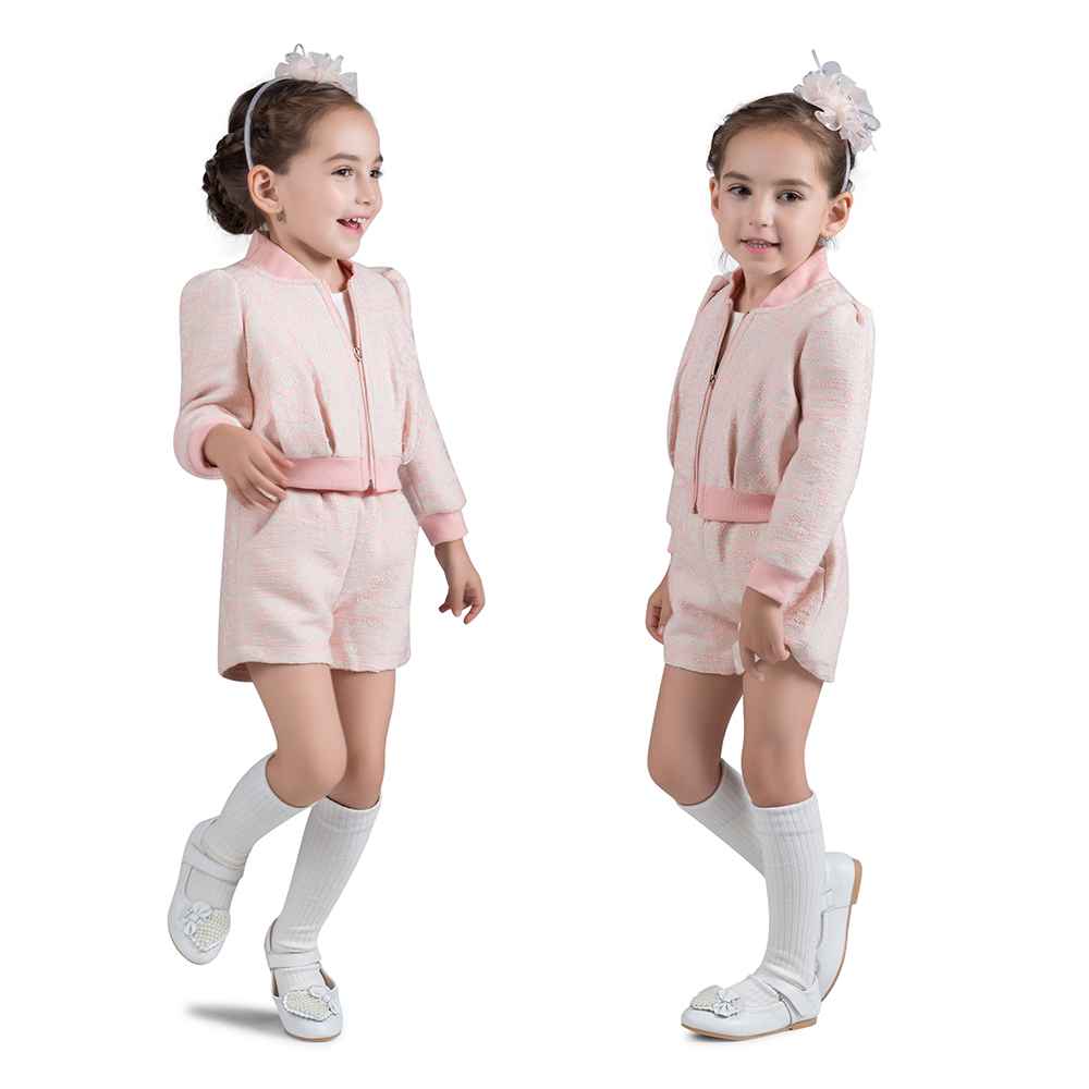 100% Cotton Autumn Winter Costume Baby Girls Thicken Light Pink Long Sleeves Shorts 2pcs Warm Children Clothing Sets <br>