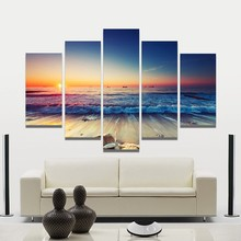 5 Pieces/set Modular Sunrise Panel Print Canvas Painting Children'S Room Decoration Print Canvas Pictures Frameless()