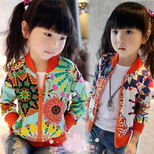 Fashion 2017 Spring Fall Floral Print Long Sleeve Baby Girls Jacket Child Kids Clothes Baby Cardigan Girls Coats Jackets JW1069