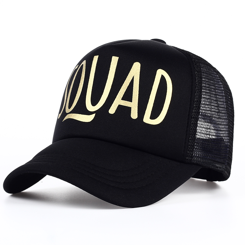 SQUAD BRIDE Party Hat Women Girl Wedding Mesh Baseball Cap Brand Bachelor Club Group Snapback Caps Summer Beach Gold Print Bone 4