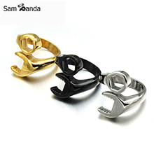 2017 Mix Color Unusual Hot Sale 316L Titanium Stainless Steel Punk Biker Wrench Man Rings Jewelry YK5110(China)
