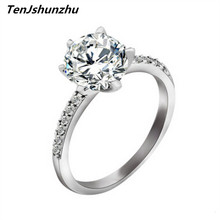 Silver Color Classic Simple Design 6 Prong Sparkling Solitaire 1ct Zirconia Crystal forever Wedding Ring bijoux jz200
