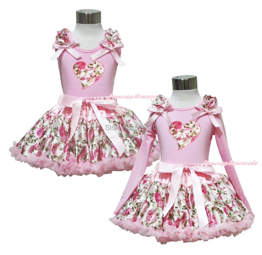 Daddy Is My Valentine Heart Pink Top Shirt Rose Floral Girl Pettskirt Set 1-8Y MAPSA0359<br>