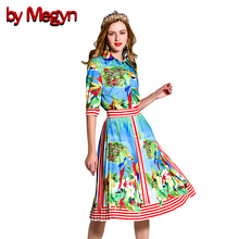 by Megyn 2017 Spring Summer Runway Women's Set Watercolor Painting Pleated Skirt Suit Skirt Top Shirt Women Set Tracksuit DG2068