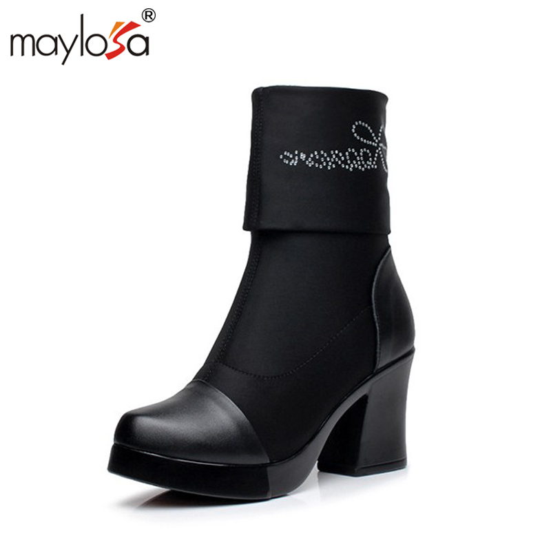 MAYLOSA Genuine Leather Women Boots Winter Warm Cow Leather Snow Boots Fashion Platform Shoes Woman Knee-high Boots<br>
