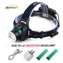 Sensor Headlight Induction Micro USB Rechargeable Lantern CREE XM L2 XML T6 Headlamp 3800 Lumen Flashlight Head Torch18650