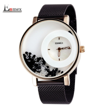 2017 new gift Enmex women luminous hands black stone Swan Lake wristwatch steel band cool lady fashion quartz diamond watches