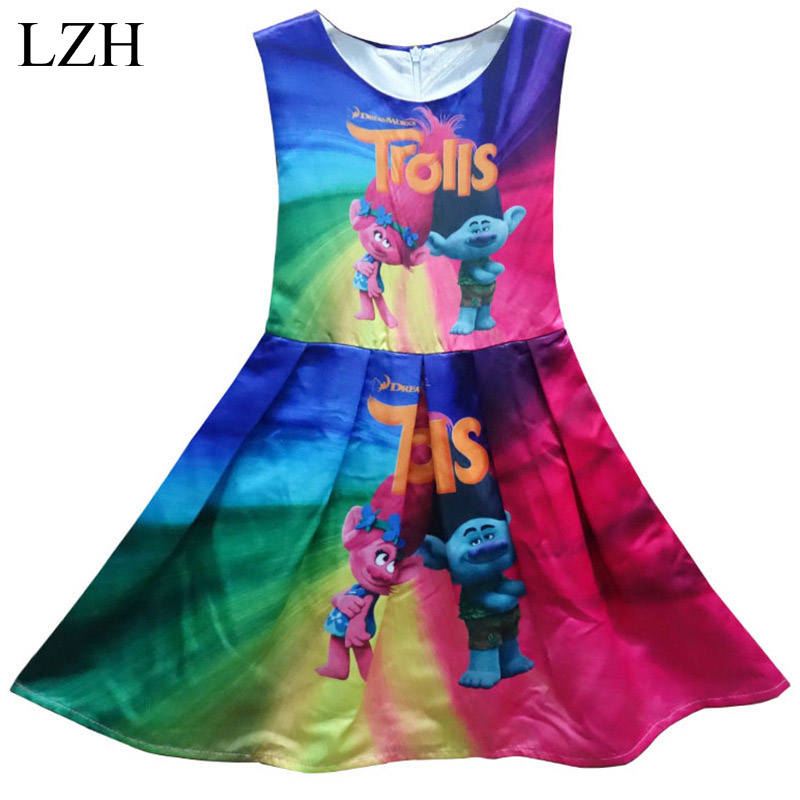 LZH Baby Girls Dress 2017 Summer Elsa Princess Dresses Children Easter Girls Party Dress Trolls Costume For Kids Girls Clothes<br><br>Aliexpress
