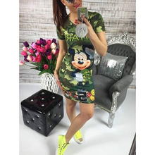 Dresses 2017 fashion summer women sweet camouflage print dress the-neck mickey miki mous lady dress sheath mini dress casual