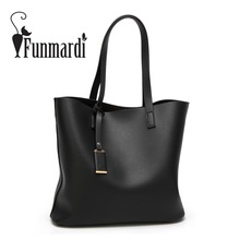 FUNMARDI Luxury Vintage Leather Bags Classical Brand Women's Handbag Simple Design Shoulder Bags Fashion Totes Bags WLHB1634(China)