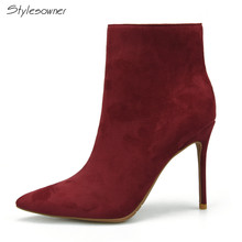 Stylesowner Wine Red Color High Heels Ankle Boots For Women 2018 Name Brand Winter Boots With Plush in Thin Heels Boots Shoes(China)