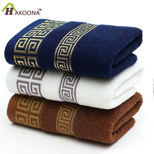 HAKOONA Luxury Greek Key Embroidered Face Towel 100% Cotton  33 * 74cm Super Soft Towel Terry Absorbent washcloths in stock