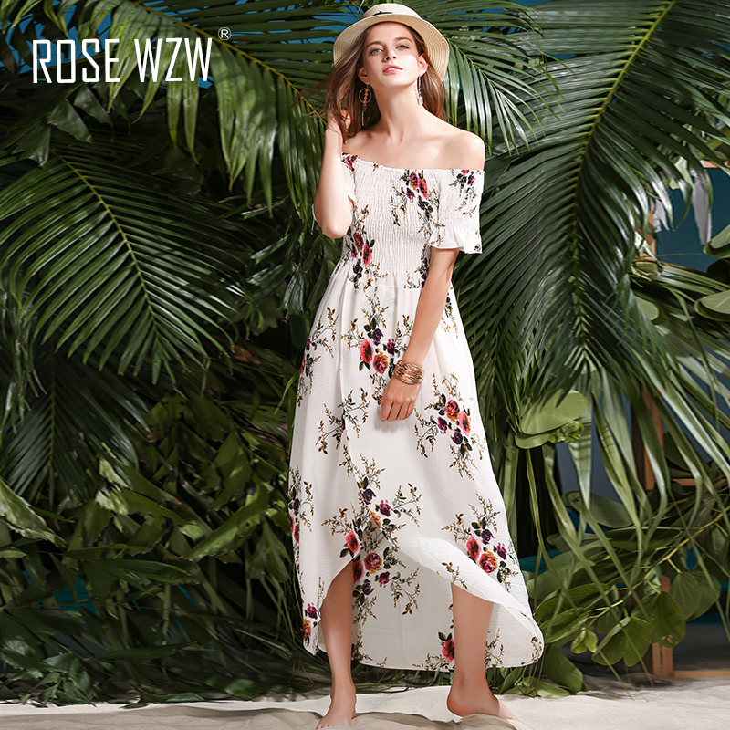 ROSE WZW summer maxi beach dress 2017 long boho shoulder sexy backless bodycon dress print high split dresses vestidos robe