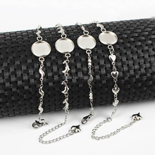 Stainless Steel Link Chain Bracelet with Round Smooth Bezel Blanks Resin Cameo Cabochons Bases Bracelet Settings DIY Findings(China)