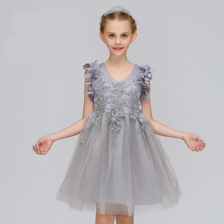 Cute 3D Appliques Children Evening Dress 2018 Flower Girl Dress Little Girl Performing of Dress Burgundy Tulle Girl<br>