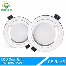 GreenEye LED Downlight Silver White AC 110v 220v 240v 4w 7w 9w 12w 15w Showcase Spot Light Lamp Round LED Recessed Down Light(China)