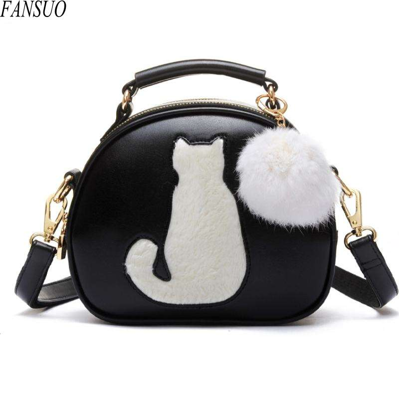 Fashion Lady Cute Cat Hair Ball Shoulder Messenger Bag Ladies Fashion Hand-held Small Round Bags Brand Designer PU Handbags<br><br>Aliexpress
