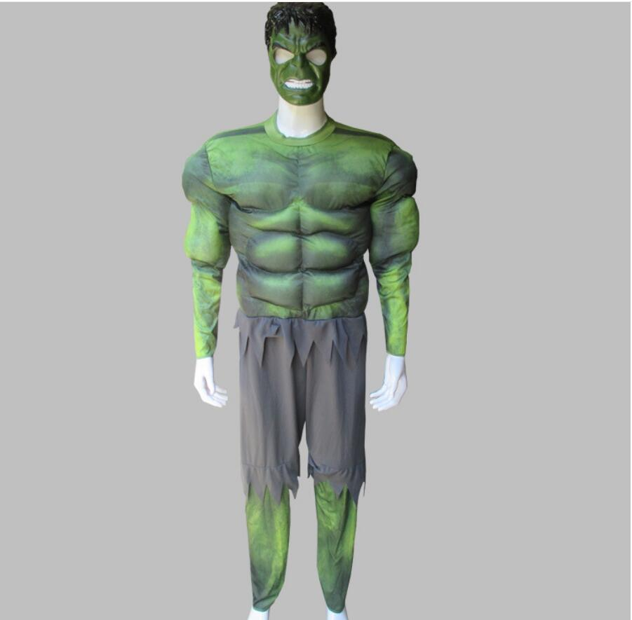Free shipping ,adult men high quality the avengers hulk muscle costume clothes mask