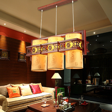 Chinese style Wooden pendant lights creative living room study dress shop Tang people shop decorative 3 heads pendant lamps ZA