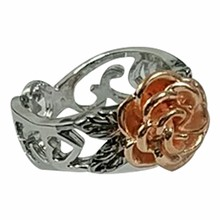 Girl Bohemia Antique Silver Color Rings Floral Rings Jewelry Valentine's Day Gift Rose Flower Rings For Women(China)