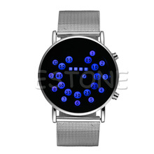 Fashion Women Men Digital Binary Blue/Colorful LED Sport Wrist Watch Wristwatch