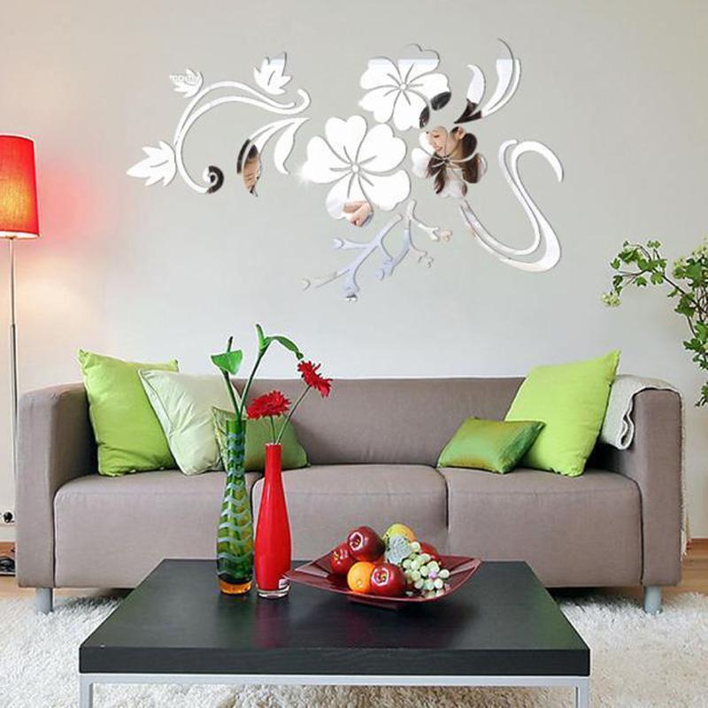 HTB1x3PMSFXXXXcIXpXXq6xXFXXXQ - 3D Flowers Vine Pattern Mirror Acrylic Wall Stickers Home Decoration DIY Gold Silver Living Room Wall Sticker Decor