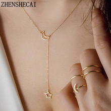 Buy Moon Star Chain Necklace Fashion jewelry 2017 gold color long pendant simple necklace women girl bijoux gift x13 for $0.30 in AliExpress store