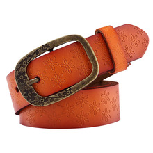 2017 Brand New Vintage Leather Belt Woman Genuine Cow Skin Fashion Floral Curved Buckle Belts For Women Orange