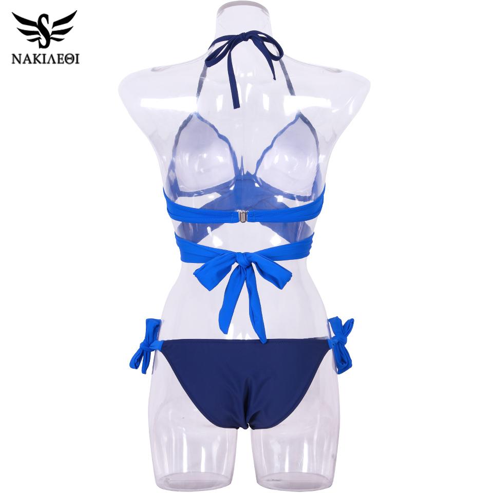 NAKIAEOI 19 Sexy Bikini Women Swimsuit Push Up Swimwear Criss Cross Bandage Halter Bikini Set Beach Bathing Suit Swim Wear XXL 70