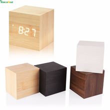 1Pcs Modern Wooden Cube Design Digital LED Desk Alarm Clock Voice Control Thermometer Timer Calendar Desktop Table Clock