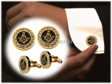 2PCS Free Shipping USA UK Canada Russia Brazil Hot Sales Golden Two-Tone Stainless Steel Masonic Men's CuffLinks Cubic Zirconia(China)