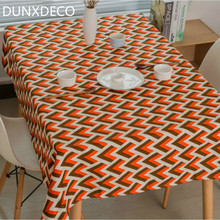 DUNXDECO Tablecloth Table Cover Fabric Nordic Geometric Orange Arrow Print Home Christmas Party Desk Decoration Mesa Mat(China)