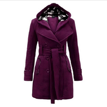 Winter Autumn Duffle Warm Hooded Double Breasted Outer Collar Long Coat Double Breasted Woolen Parka Overcoats Vestidos