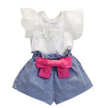 2017 Summer Korean baby girls clothing set children heart shirt+bow shorts suit 2pcs kids floral bow clothes set suit(China)