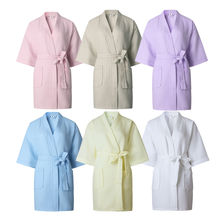 Ladies Womens Waffle Bath Robe 100% Cotton Dressing gown Comfortable Nightwear Terry Robe hotel robe(China)