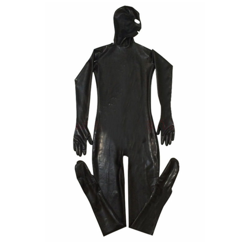 XXL Erotic Leotard Gay Men Sexy Fetish Latex Nightclub Catsuit PVC Costumes Prisoner Cosplay Body Suit Black Leather jumpsuit 2
