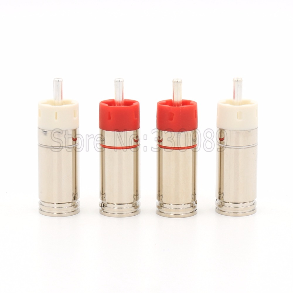Free Shipping 4pcs Star Line Silver Plated Tellurium Copper RCA Plugs connectors<br>