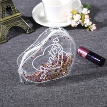 1PC Lovely Fashion New 14.3cmx11cm Love Heart Sequins Purse Makeup Cosmetics Holographic Girls Storage Bag