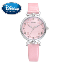 Disney Kids Watch Children Watch Fashion Cool Cute Quartz Wristwatches women Leather Water Resistant Mickey Mouse clock(China)
