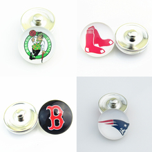 Wholesale Boston NFL Football MLB Baseball  Basketball Team 18MM Glass Snap Button Charm Fit Snap Jewelery For Sports Fans