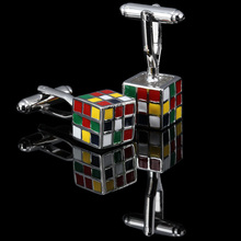 WN  Fashion Enamel Superhero Metal Knots Magic Cube Cufflink Cuff Link 1 Pair Free Shipping Crazy Promotion