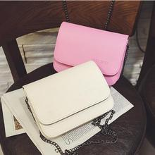 2017 summer fashion new handbag High quality PU leather Women bag Simple sweet small square bag Chain alphabet mini shoulder bag