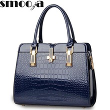 SMOOZA Elegant Alligator Patent Leather Women Handbag Big Women's Shoulder Bags Cross Lock Design Lady Tote Handbag